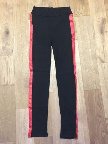Women/'s Black leggins with red strip detail Sizes Small-XL