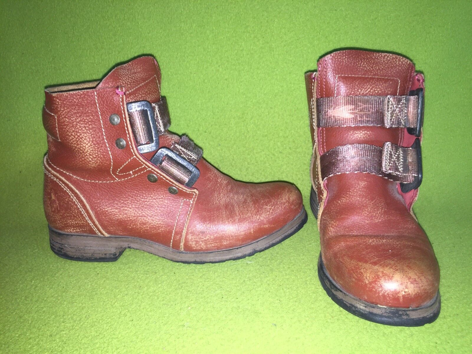 Distressed Red Fly London Buckle Strap Boots 6 36