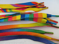 1 PAIR FLAT PSYCHADELIC RAINBOW SHOE SNEAKER TRAINER LACES FREE UK POST 115cm