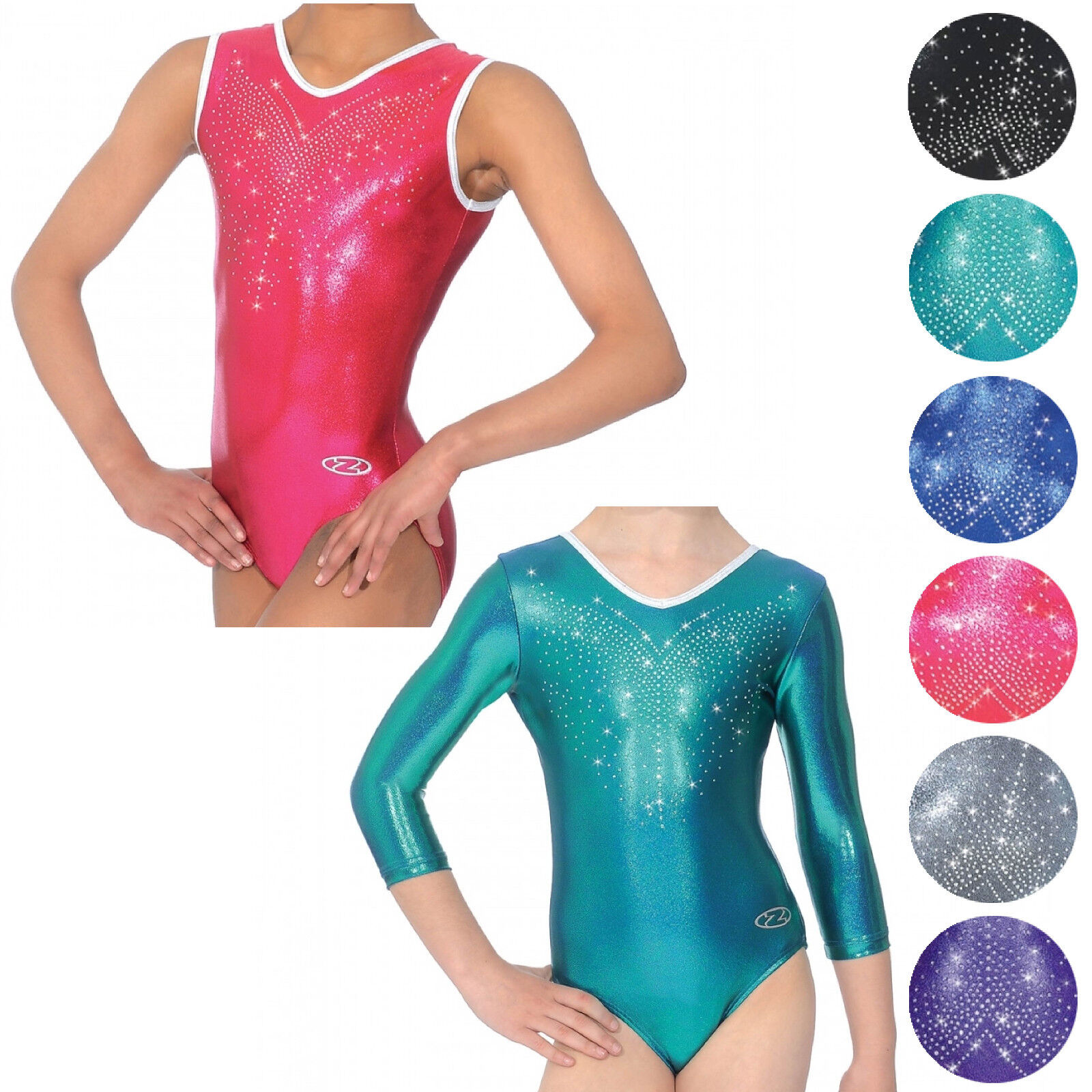 NEW GIRLS ZONE FLYTE 3 4 SLEEVELESS LEOTARD DANCE GYMNASTICS GYM SIZE 24-38