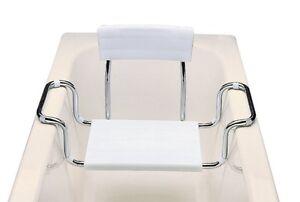 Sedile vasca bagno in moplen con schienale regol. acciaio per