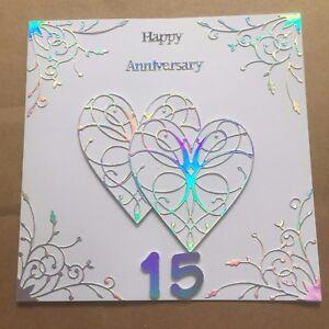 15th Wedding Anniversary.Details About Handmade Crystal Wedding Anniversary Card Happy 15 Th Wedding Anniversary