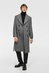299851c7 ZARA MEN AW18 GREY CLASSIC WOOL WARM DOUBLE-BREASTED COAT 5947/702 M ...