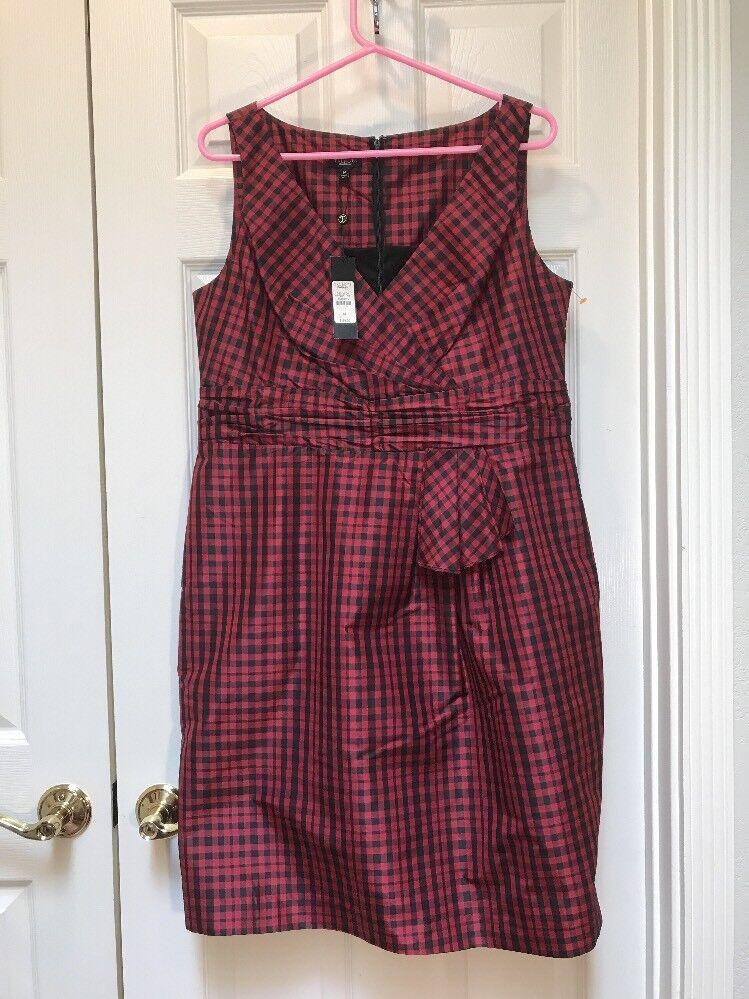 NWT Talbots damen rot schwarz Checkerot Plaid Silk Dress Größe 14 V-neck Christmas