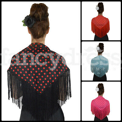 Black Black Fringe Multi Colour Pattern New Child/'s Spanish Flamenco Shawl