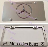 mercedes-benz Stainless Mirror Front License Plate & Frame Combo Rust Free
