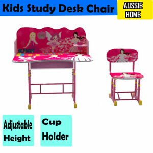 Adjustable Height Kids Study Desk Chair Cup Holder Girls Children Work Learning 7426932081505 Ebay