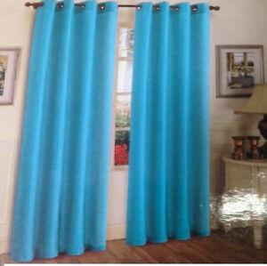 2piece solid aqua blue metal grommets faux silk window