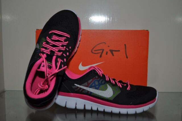 Nike Flex 2015 RN GS Kids Running Shoes 724992 006 BlackPink NIB