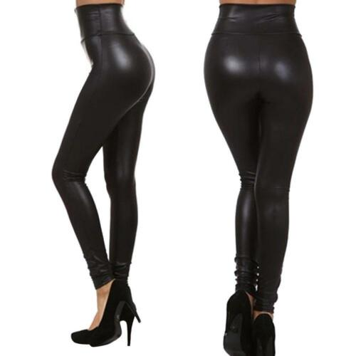 Bund Treggings Leggings Röhre Gr 40-42 Stretch Hose Leder Imitat !10 cm
