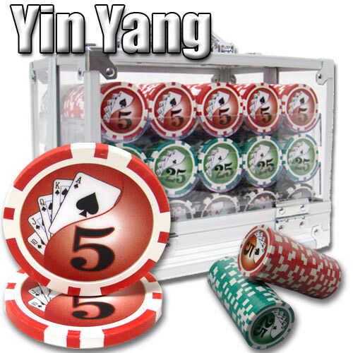 New 600 Yin Yang 13.5g Clay Poker Chips Set with Acrylic Case Pick Chips!