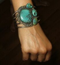 Vintage Native American Indian Navajo Sterling Silver Turquoise Cuff Bracelet