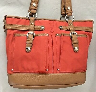 Tyler Rodan Crossbody Shoulder Bag Purse Cognac Vegan Leather Multi-Pocket $45