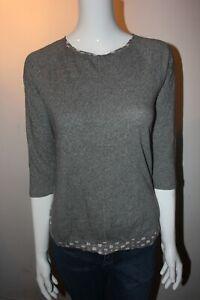 White-Stuff-Cuello-Redondo-Gris-jaspeado-de-algodon-Manga-3-4-camiseta-Blusa-Camiseta-Top-10-14