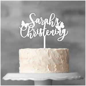 PERSONALISED-Christening-Cake-Topper-ANY-NAME-Boys-Girls-Glitter-Cake-Decoration