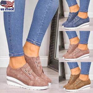 Womens-Round-Toe-Slip-On-Trainers-Loafers-Ladies-Wedge-Heel-Sneakers-Comfy-Shoes