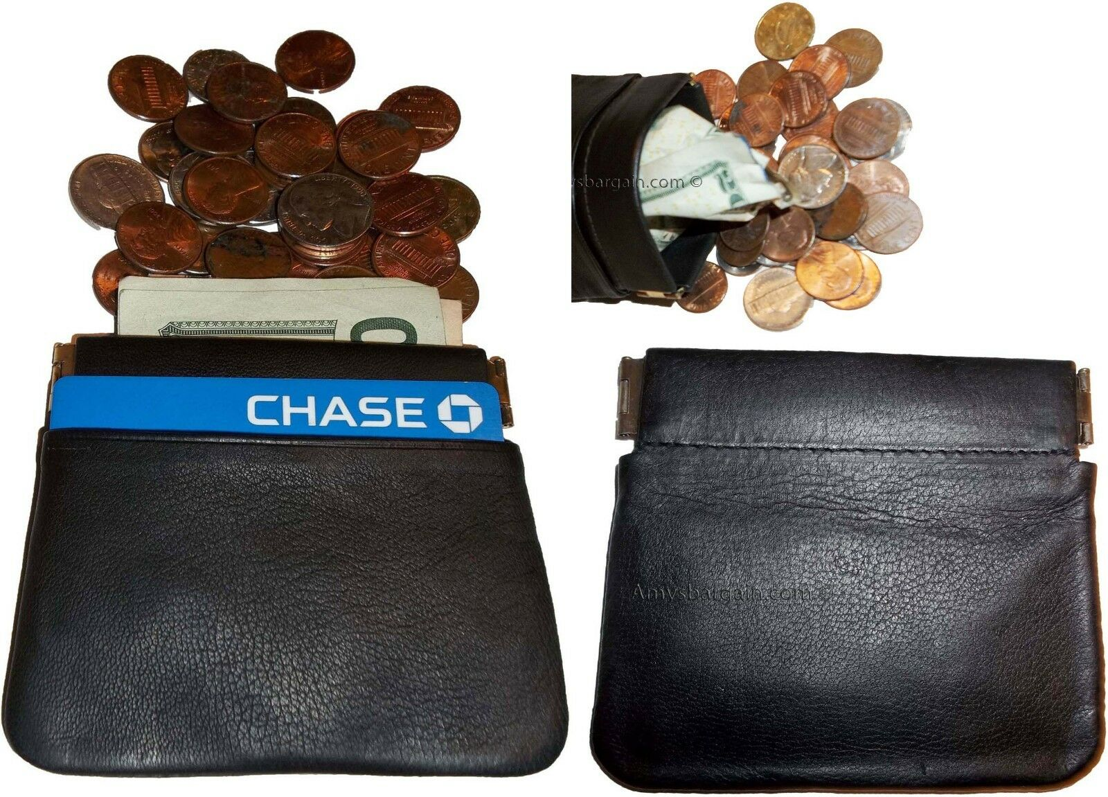 Lot of 2 New Leather Squeeze change purse metal framed squeeze Coin Change Case