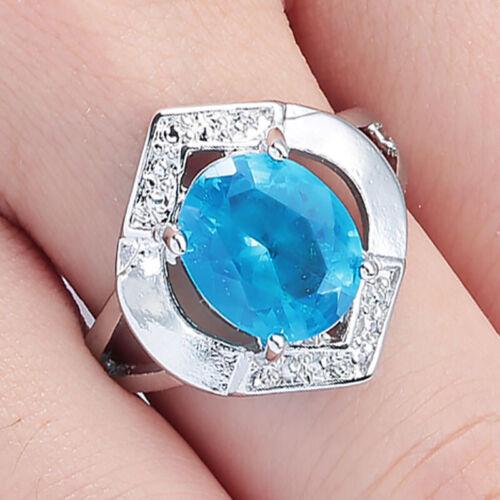 Fashion Women Round Cut White Fire Opal 925 Silver Gemstone Jewelry Ring Sz5-11