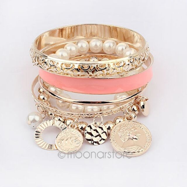 2014 Fashion Womens Unique Jewelry Gold Metal Pearl Multilayer Pendant Bracelet