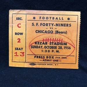 S.F. 49ers FORTY NINERS VS. CHICAGO BEARS 10281956 PRESS BOX TICKET