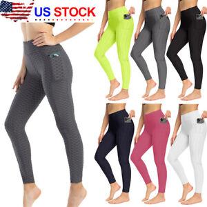 Women Push Up Leggings Yoga Pants Anti Cellulite Sports Ruched Leggings US