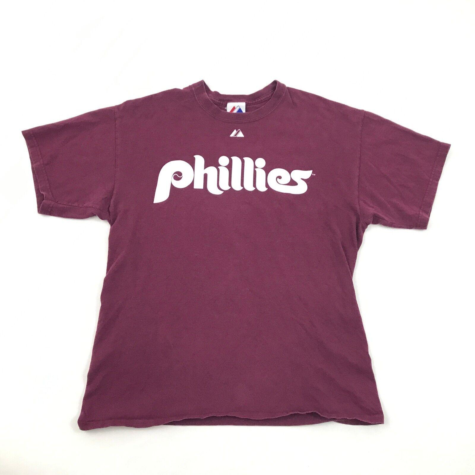 Majestic Philadelphia Phillies T-shirt Size L Large Halladay 34 Tee DOC Mens