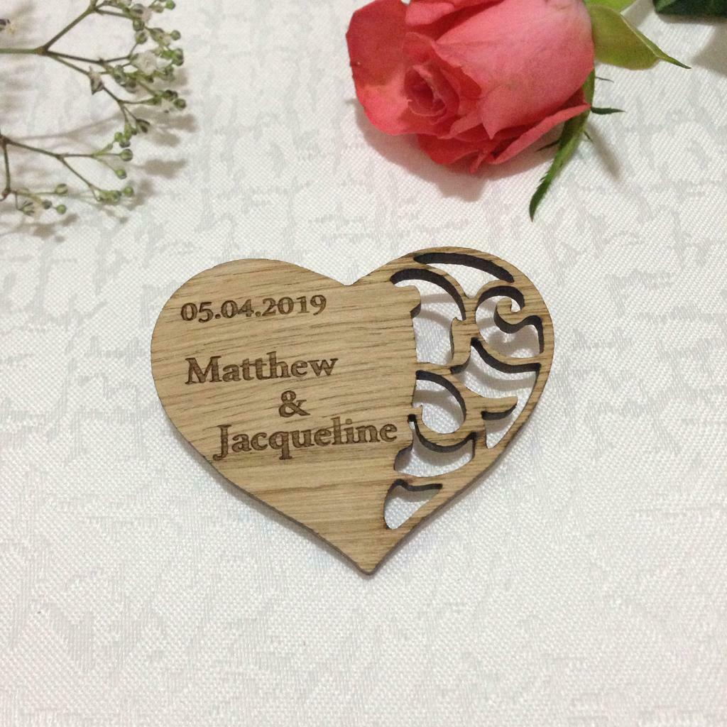 Save the Date Magnet Names Initials Heart Wedding Favours Confetti Decoration