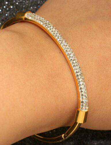 Magnifique Diamant Bracelet Jonc 18k Or Jaune Finition 3 cttw MADE IN ITALY