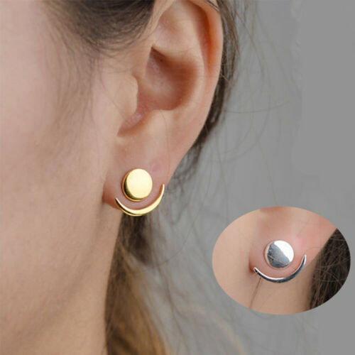 Crescent Moon Phase ronde géométrique oreille Veste Clous D/'Oreilles Pour Femmes Cadeau USA