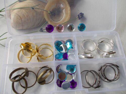 Bague Bijoux Kit Fun Jewellery Making /& Box cabochons et anneaux Kids Set