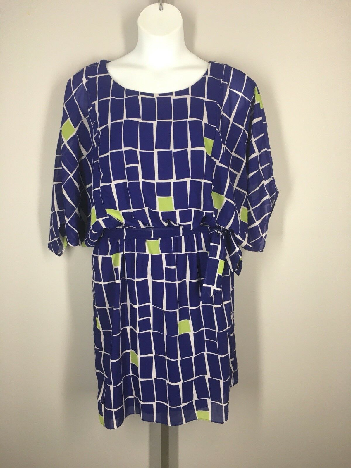 Coldwater Creek Dress Size 16 Blouson Dolman Sleeves Grid Geo New