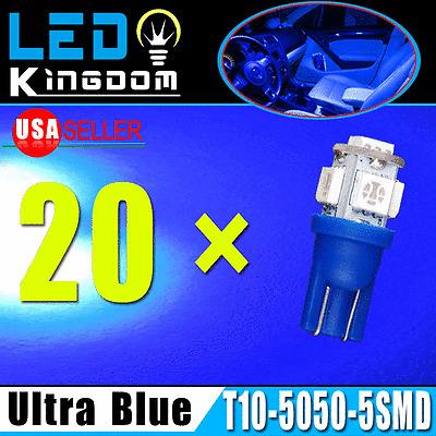 20X T10 Ultra Blue Car 5050 5-smd LED Wedge Interior Light Bulb W5W 168 194 2825