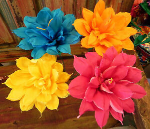 Mexican crepe paper flowers set of 4 bi color star we make special image is loading mexican crepe paper flowers set of 4 bi mightylinksfo