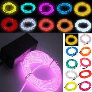 Flexible-Neon-Light-5m-Glow-EL-Wire-LED-Strip-Tube-Car-Dance-Party-Controlle