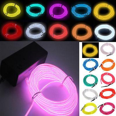 Flexible Neon Light 5m Glow EL Wire LED Strip Tube Car Dance Party +Controlle