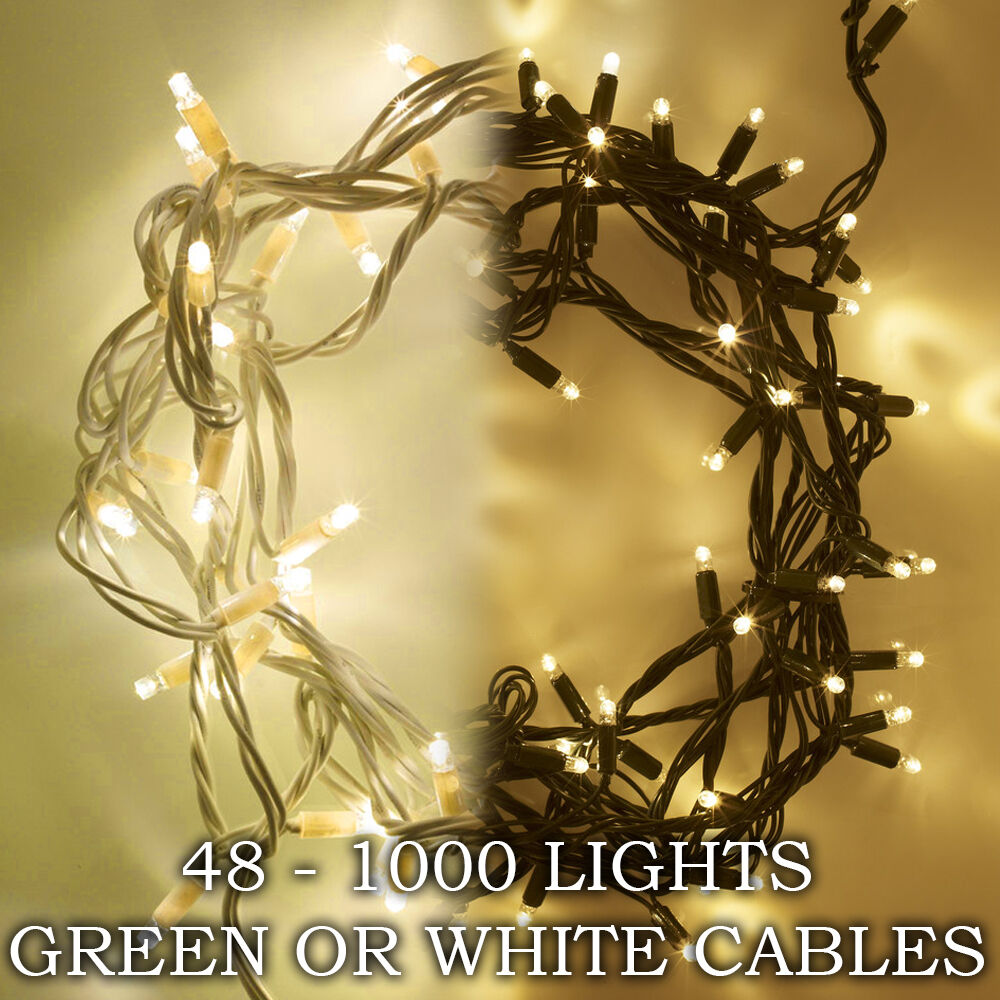 27m KAEMINGK 360 Warm White LED Outdoor Christmas Xmas Lights Green ...