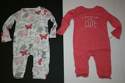 New Carter/'s 2 Pack Girl Rompers Safari Animal Print Pink NB 3m 6m 9m NWT Outfit