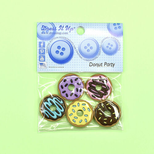 DRESS IT UP Buttons Donut Party 10404 Embellishments Flat Backed Cup Cakes Iced