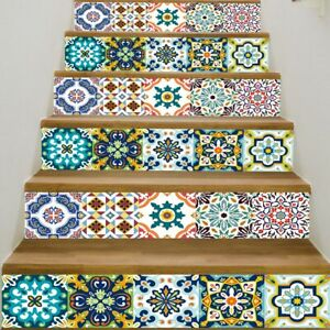 6pcs 3D Mosaic Stairs Tile Risers Decal Sticker Staircase Wallpaper Stair Decor