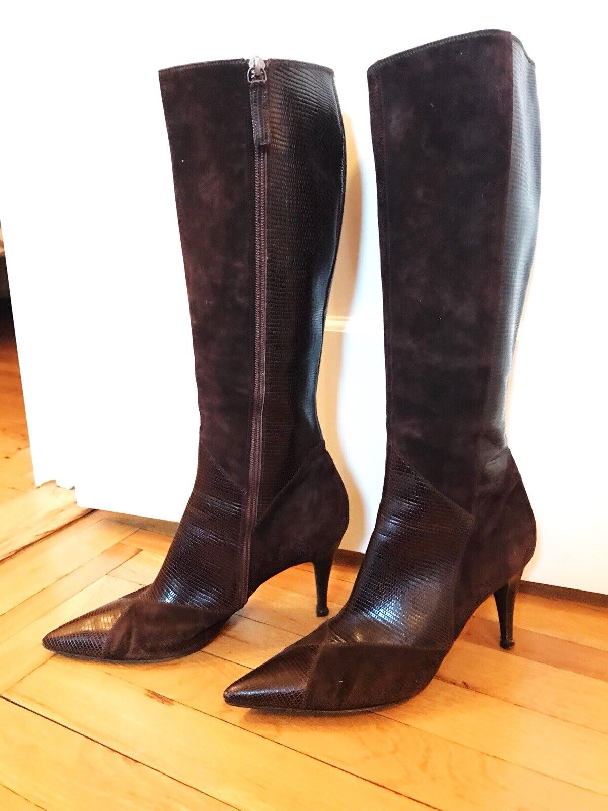 Hugo Boss Brown Suede & Leather Knee-High Boots SZ 40 10
