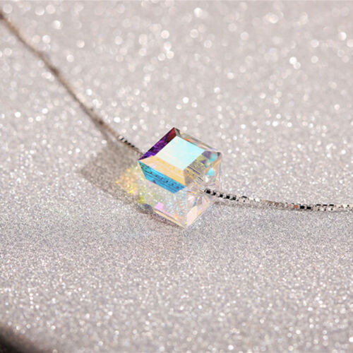 Cube Square Aurora Crystal Pendant Silver Chain Necklace Women Charm Jewelry