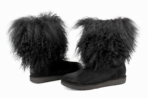 390f88538b5 UGG LIDA CURLY MONGOLIAN SHEEPSKIN SUEDE BLACK BOOT WITH THE FUR ...