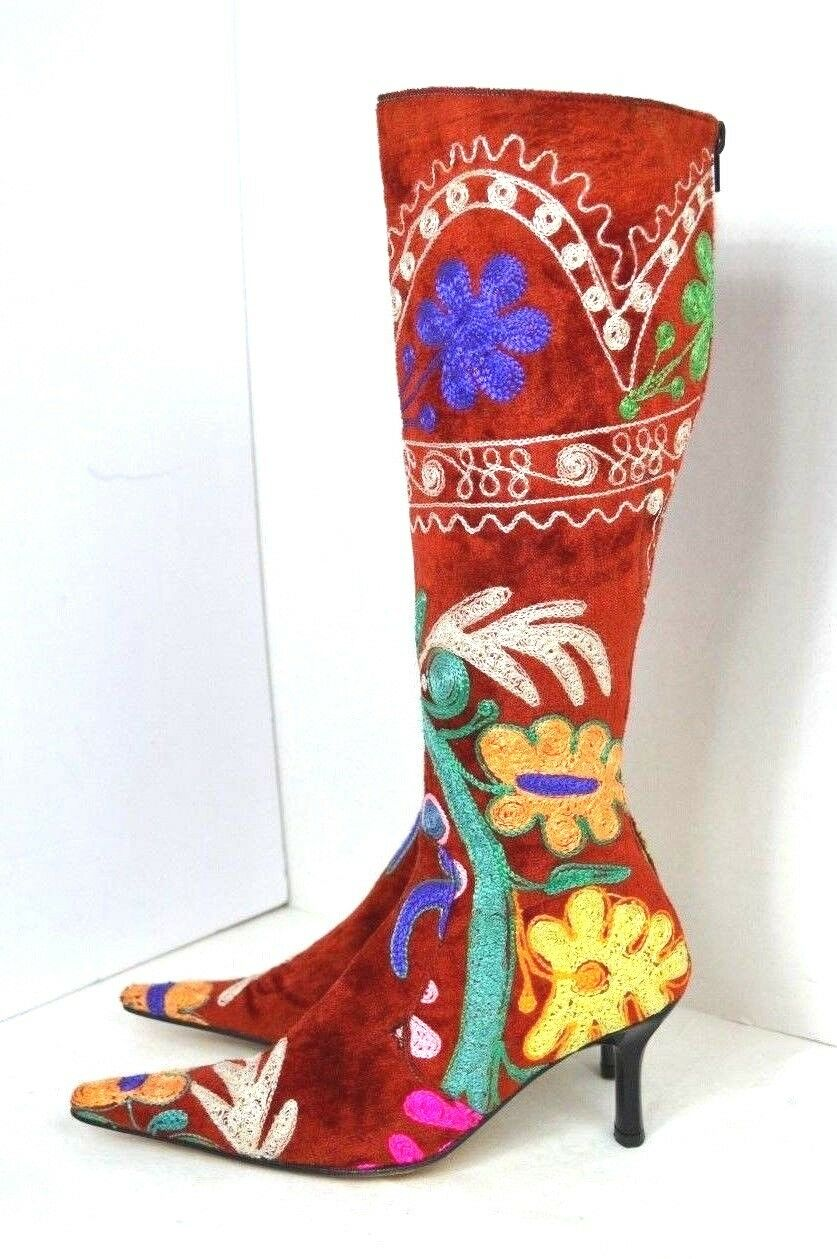 NEW EDOCHE RED HAND Embroidered Knee High Boots Womens BOOTS SIZE 36  6 TURKEY