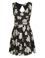 Monsoon New Black Silver Jacquard Skater Party Dress Size 8 - 14 Bnwot Rrp=£69