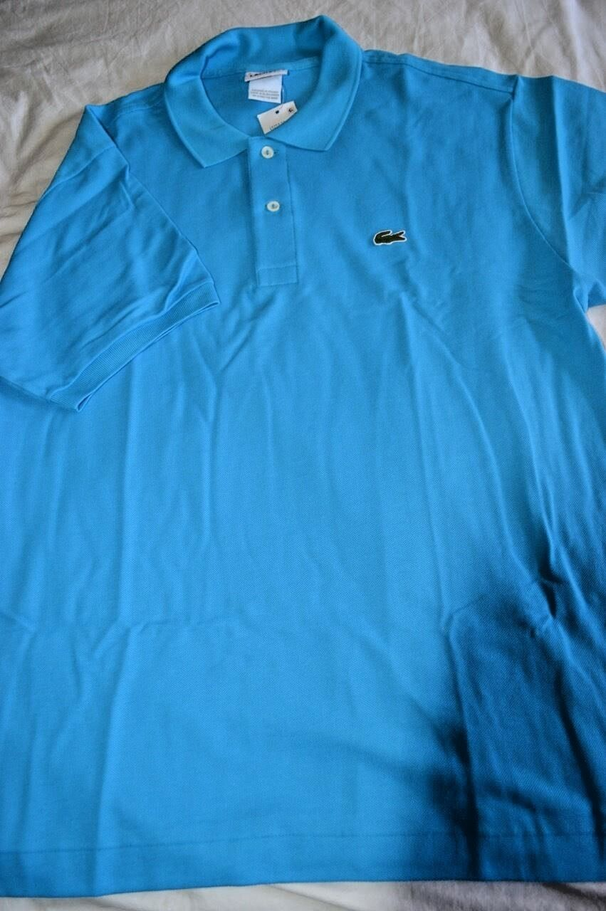 NWT LACOSTE Classic Surf blueE Large 6 cotton MESH short sleeve POLO shirt