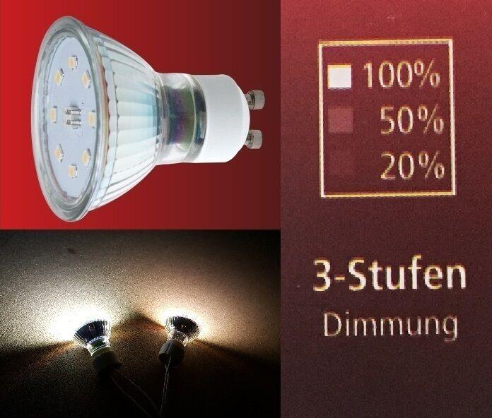 SMD Led 230V GU10 5 Watt = 50 Watt Lichtfarbe: Weiss & Warmweis 3 Stufen Dimmbar