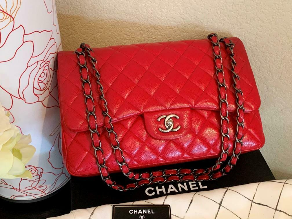 Authentic Chanel Classic Jumbo Red Caviar Double … - image 1