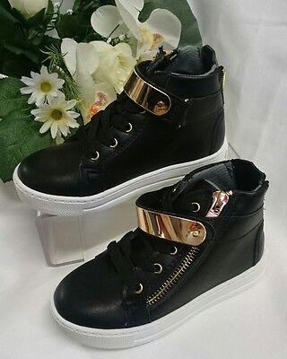 Mädchen Kinder Schuhe Halbstiefel Halbschuhe Gr. 21 High Sneakers Schwarz Gold
