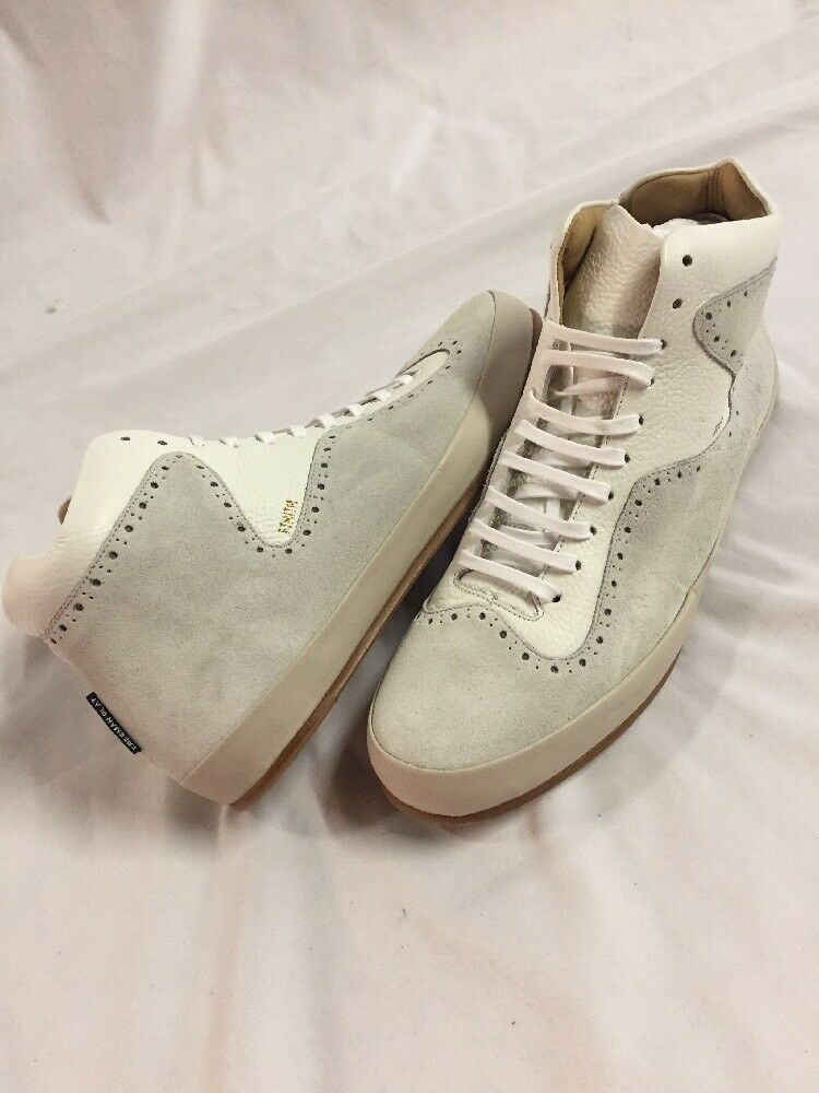 Freeman Plat COURT MID Men's Leather Boot SNEAKERS shoes Size 15 Cream