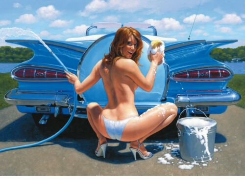 "TIN SIGN /""Car wash Blue Beauty/"" Pinup Babe Deco Garage Wall Decor"